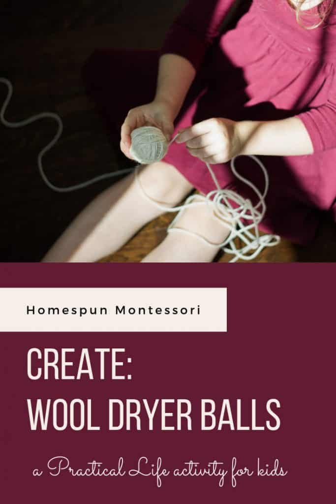Have you made wool dryer balls before? This time invite your child to participate. It's a wonderful practical life activity for Montessori-inspired homes! Children as young as 3-4 should be able to assist and those closer to 5 should be able to make them independently. It's great for developing fine motor skills and concentration.#homeeducation #practicallife #montessoriathome #finemotoractivity