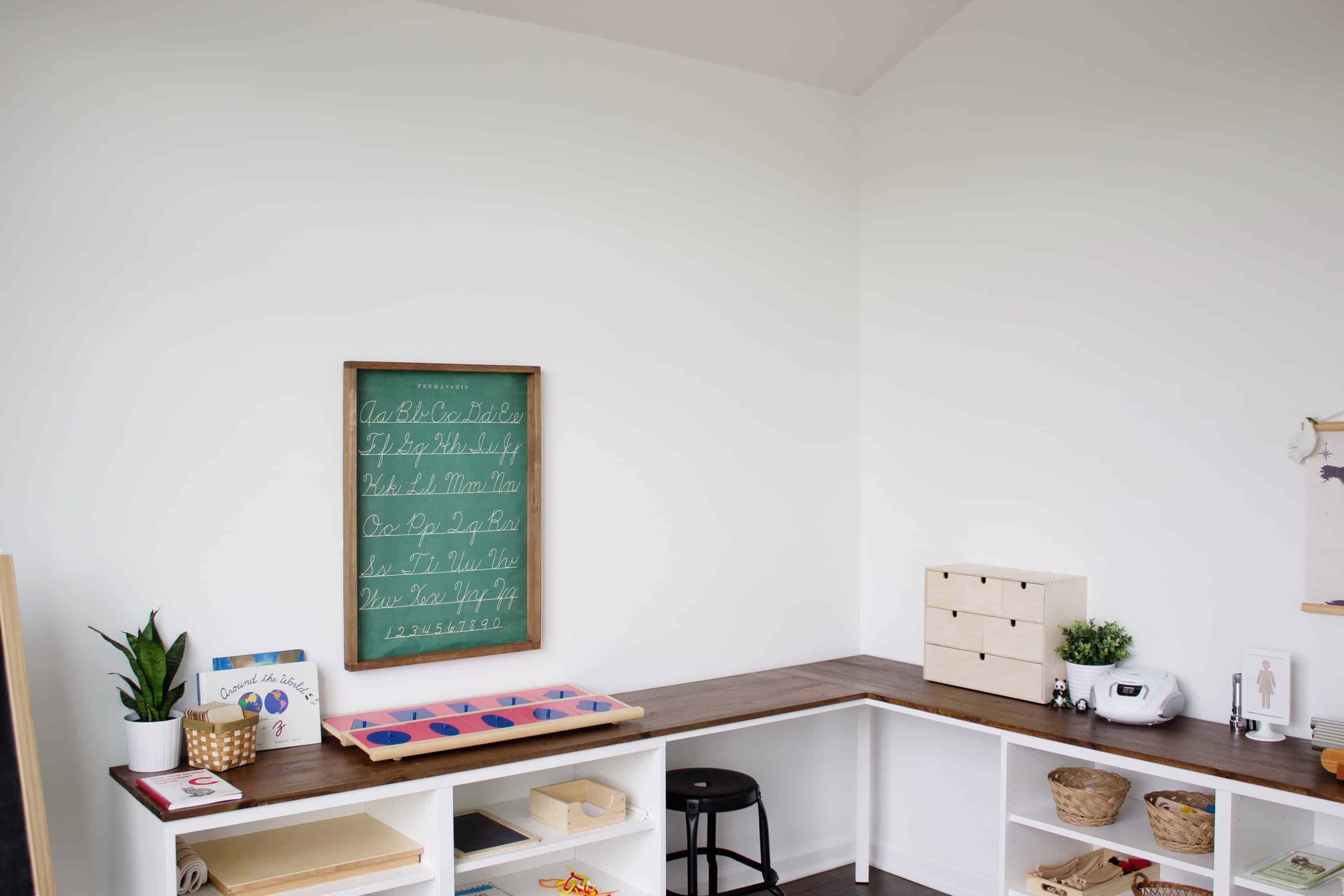 Montessori homeschooling room with corner desk