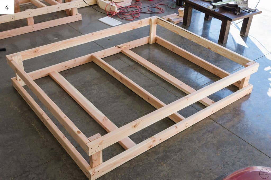 Here is the fully assembled frame box for the DIY modern farmhouse electric fireplace.