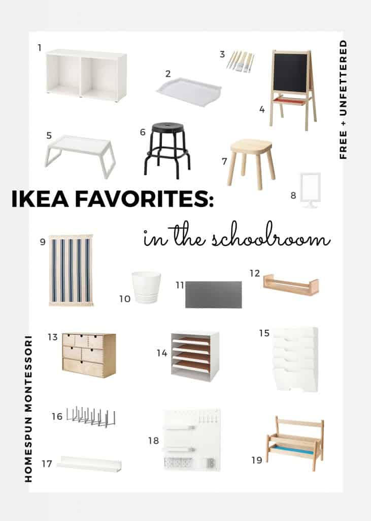 a curated list of our favorite ikea products in our montessori-inspired schoolroom