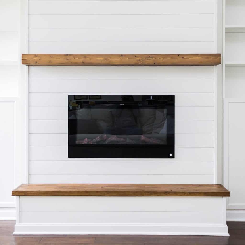 DIY Modern Farmhouse Floating Mantel   Free and Unfettered