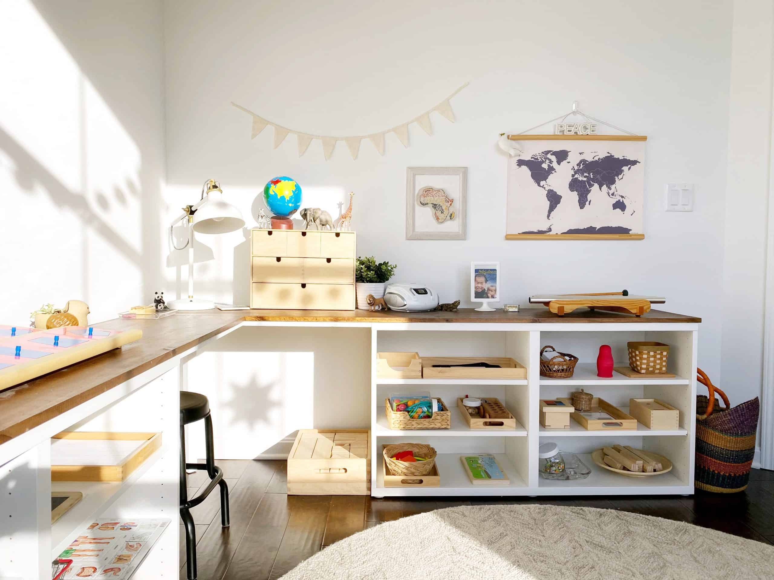 Home Tour: Our Montessori-Inspired Schoolroom and Playroom + A Free Guide to Designing Spaces for Children