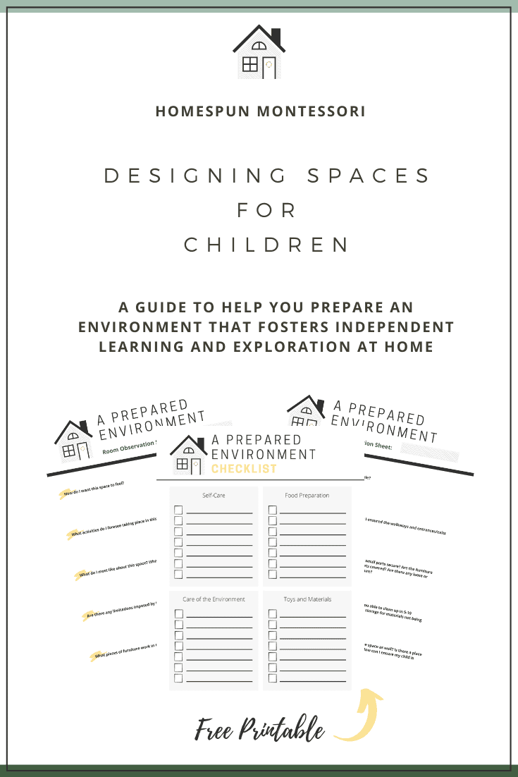 Designing Spaces for Children: A Guide to Help You Prepare an Environment That Fosters Independent Learning and Exploration at Home is available free to download at www.freeandunfettered.com. #montessori #preparedenvironment #designingspacesforchildren #montessoriathome #homeschooling #childledlearning