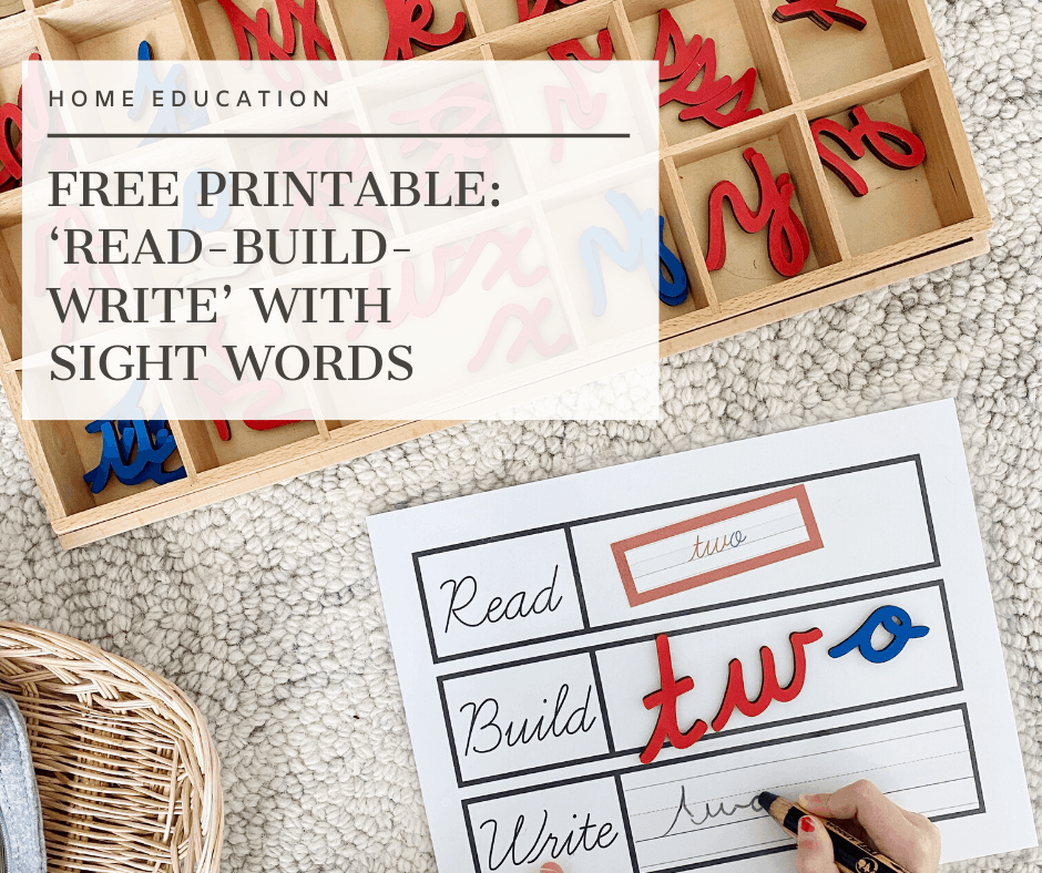 Do you have a kinesthetic learner who is beginning to read? Try using a 'Read-Build-Write' mat paired alongside a manipulative to capitalize on their kinesthetic memory! Visit www.freeandunfettered.com to download this free printable mat along with Dolch sight word labels available in both cursive and print. #ece #earlyliteracy #kindergarten #homeschooling #montessori #earlychildhoodeducation