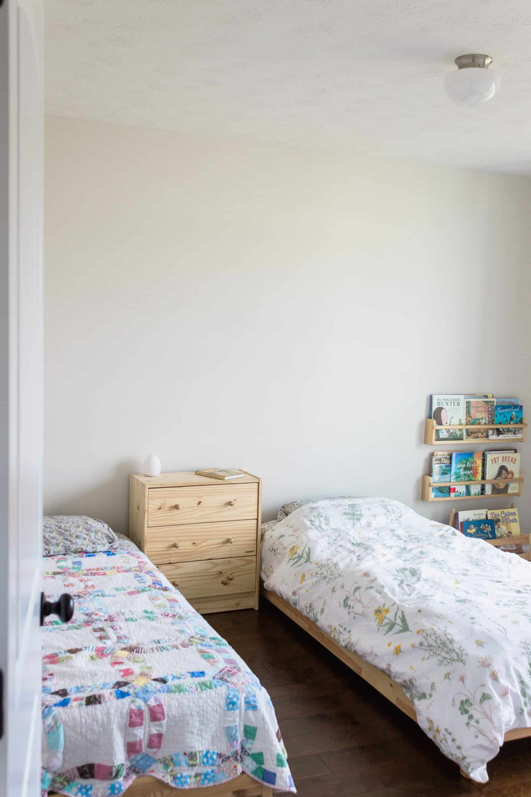 A 'Before' picture of a shared children's bedroom. Follow along to see our progress on our Montessori-friendly makeover as part of the Spring 2020 One Room Challenge!
