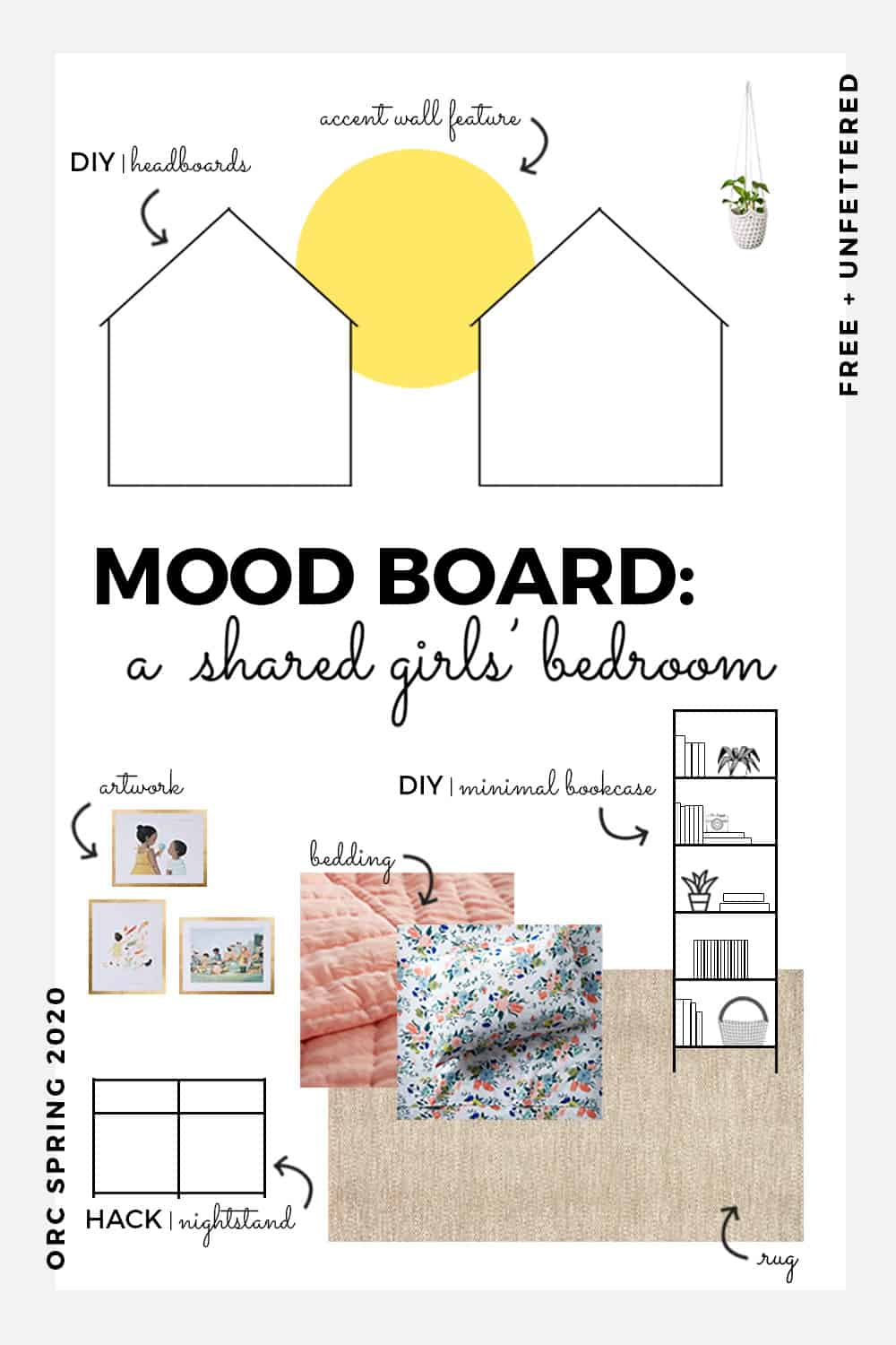Check out our Montessori-friendly shared children's bedroom makeover as part of the Spring 2020 One Room Challenge! #orc #designingwithkids #kidsbedroom #childfriendlydesign