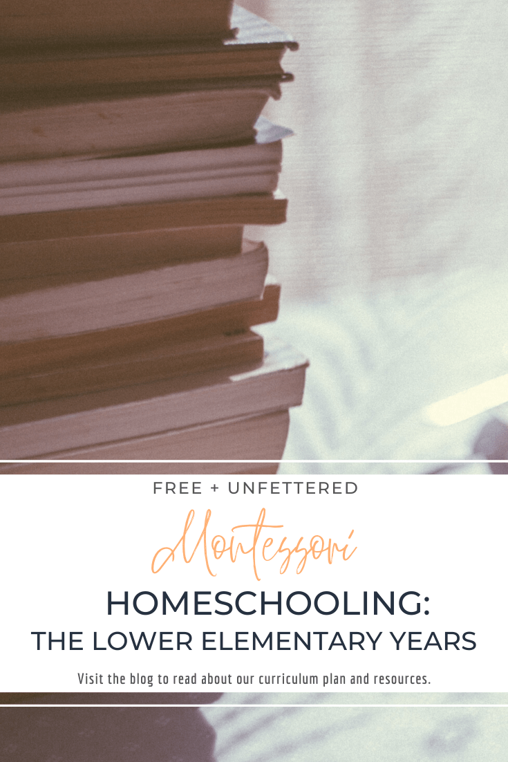 Read about our Montessori-inspired curriculum plan and the resources we'll be using for lower elementary homeschooling (ages 6-9) by visiting www.freeandunfettered.com.