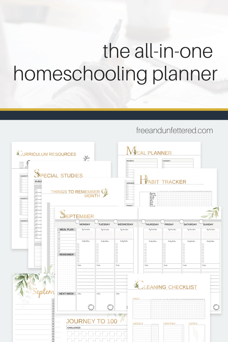 Shop the All-in-One Homeschooling Planner and Recordkeeping Binder at www.freeandunfettered.com. It's designed specifically for families who are seeking a flexible and customizable planning solution. Plan weekly lessons for up to 6 kids, record your top priorities, start tracking habits, and so much more!