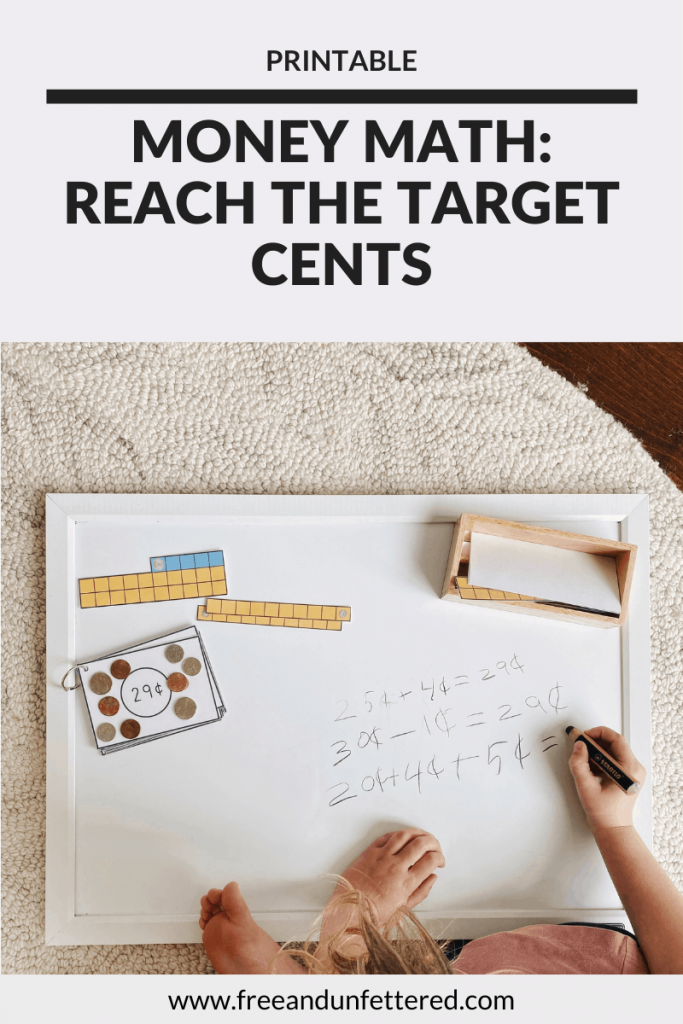 Challenge your children to think creatively about math problems with these Target Number coin cards. Combinining amounts of 1¢, 5¢, 10¢, 25¢, and ¢50 assists math fluency while the task of using multiple sets of numbers helps develop both math reasoning and problem solving skills for kids. Learn more about this counting coins activity as well as other resources to help practice money math skills by visiting www.freeandunfettered.com. #montessori #earlymath #mathisfun #mathactivity #firstgrade #secondgrade #handsonlearning