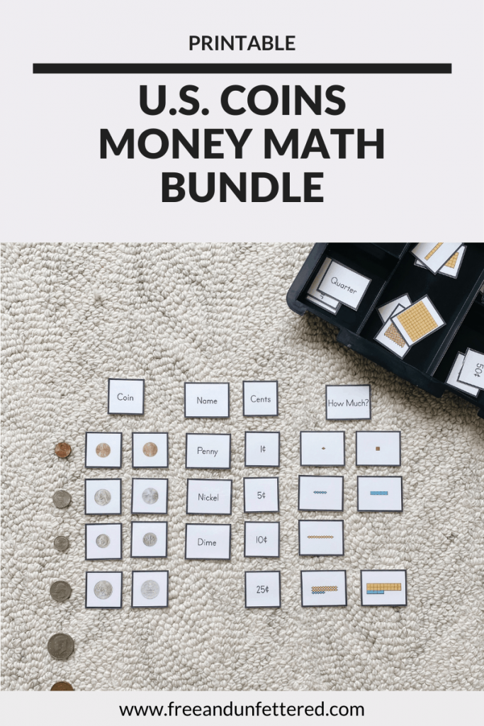 Introduce U.S. coins and their associated values to your kids with this Montessori-inspired money math bundle. You'll receive immediate access to 3-part cards, reference charts, coin sorting cards, part-to-whole cards, target number coin cards, memory games, and more! Learn more at www.freeandunfettered.com. #montessori #mathactivity #moneymath #handsonlearning #ece #preschoolmath #kindergartenmath #firstgrademath #secondgrademath