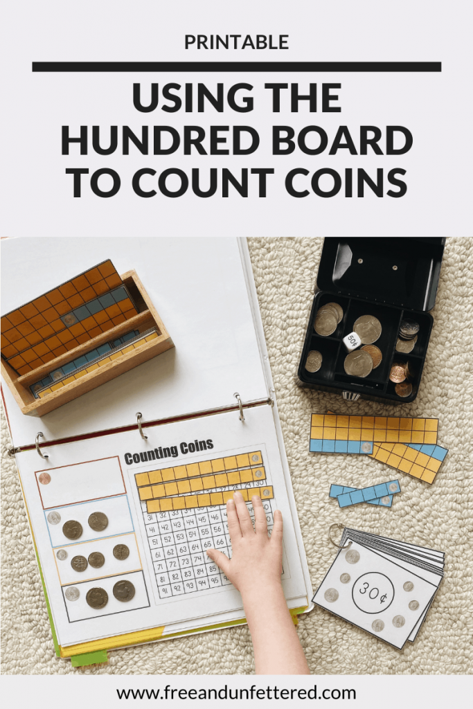 Help your children learn to count money using a hundred board and U.S. coin paper strips. Children can manipulate the strips to build target sums and discover how many of each type of coin fits into $1.00. Learn more about this counting coins activity as well as other resources to help kids practice money math skills by visiting www.freeandunfettered.com. #montessori #earlymath #mathisfun #mathactivity #firstgrade #secondgrade #handsonlearning