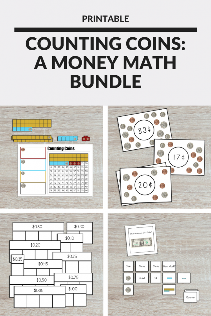 Help your kids learn how to count money with this Montessori-inspired printable math bundle. You'll receive instant access to hands-on learning materials and activities to strengthen number sense, build money math skills, and deepen their understanding of making sums and finding differences. #montessori #earlymath #ece #mathactivities #elementarymath