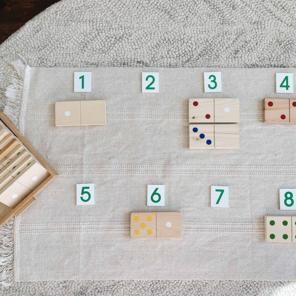 Dominoes are an excellent material to keep at home for kids to practice math. #montessori
