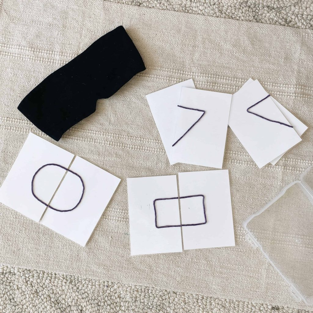 Introduce symmetry to preschoolers with these tactile shape cards using WikiStix! It's also a really fun game to play blindfolded and is sure to have your kids giggle and laughing! #montessori